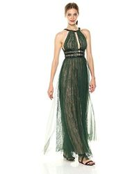 BCBGMAXAZRIA - Cutout Neck Lace Floor-length Gown - Lyst