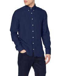 Hackett Gmt Dyed Linen Bs Casual Shirt - Blue