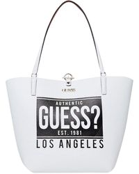 Guess Toggle Tote White/Cognac Toggle Tote Alby White/Cognac - Blanc