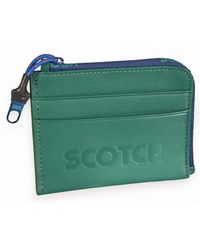 Scotch & Soda Leather Coin Wallet with Logo Boxing Green - Verde