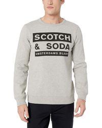 Scotch & Soda Scotch and Soda AMS Blauw Graphic Sweat in Regular fit Sweatshirt - Grau