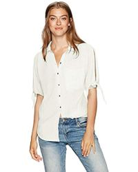 William Rast Willliam Rast-clapton Woven Top With Ties On Sleeves - White