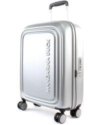 Mandarina Duck Trolley logoduck+ cabin size spinner SZV54 silver - Metallizzato