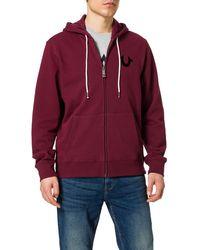 True Religion Classic Logo Long Sleeve Zip Up Hoodie - Rosso
