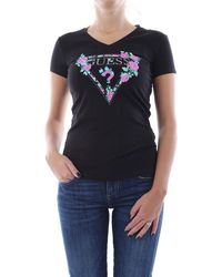 Guess Donna T-Shirt Triangolo Logo Strass Nero Mod. W0YI85 J1300 XL - Noir