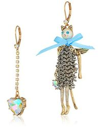 Betsey Johnson - Angel Cat And Heart Mismatch Drop Earrings - Lyst