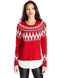 Kensie - Fair Isle Twofer Sweater - Lyst
