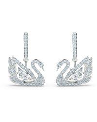 Swarovski - Dancing Swan Pierced Earrings - Lyst