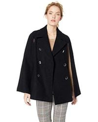 Calvin Klein Wool Cape With Large Double Breasted Buttons - Black