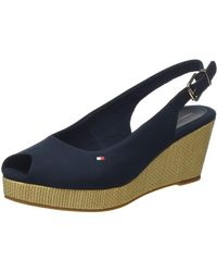 Tommy Hilfiger Iconic Elba Sling Back Wedge Open Toe Sandals - Blue