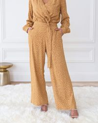 The Drop Tan/biscuit Animal Print Front-belted Trousers By @cellajaneblog - Brown
