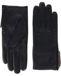 Tommy Hilfiger Corporate Detail Leather Gloves, - Blue