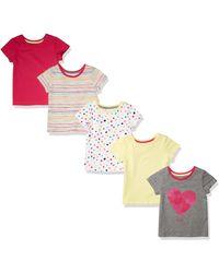 Amazon Essentials Paquete de 5 Camisetas de Moda para Niñas. Dresses - Metálico