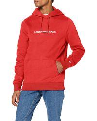 Tommy Hilfiger TJM Straight Small Logo Hoodie Jersey de Deporte - Rojo
