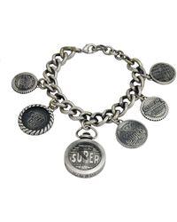 Superdry Ladies Antique Silver Charm Bracelet Watch - Metallic