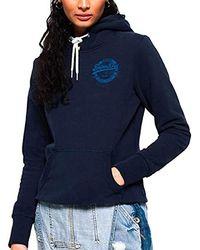 Superdry V Logo Heritage Entry Hood Pullover - Blau