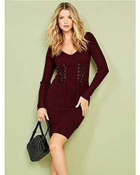 Guess - Long Sleeve Glitz Ring Sweater Dress - Lyst