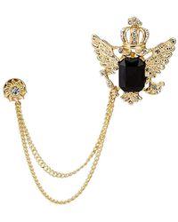 HIKARO Amazon Brand Golden Crown With Wing And Black Stone Sunshine Hanging Chain Brooch Golden - Metallic