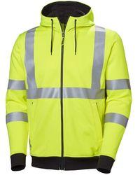 Helly Hansen S Addvis Full Zip Hi Vis Workwear Hoodie Yellow