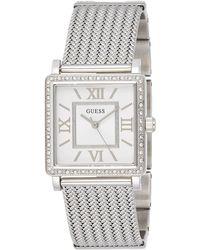 Guess Erwachsene Datum klassisch Quarz Uhr mit Edelstahl Armband W0826L1 - Mettallic