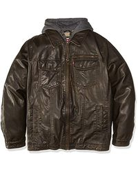 Levi's Size Tall Vintage Deer Faux Leather Hooded Trucker With Full Sherpa Lining - Brown