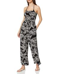 Dorothy Perkins Monochrome Leaf Print Crinkle Playsuit Swimwear Cover Up - Black