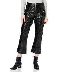 FIND Pantalon Court Évasé Imitation Cuir - Noir