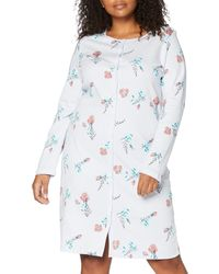 Triumph Timeless Cotton Ndk Buttons Nightgown - Blue