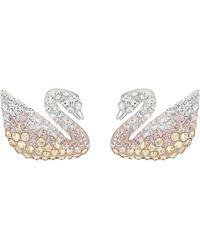 Swarovski - Iconic Swan Pierced Earrings - Lyst