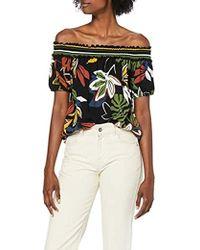 Dorothy Perkins Tropical Sheered Stripe Bardot Blouse - Multicolour
