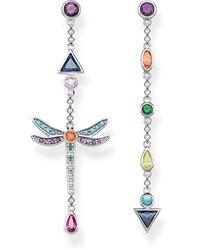 Thomas Sabo Ladies-earrings Dragonfly 925 Sterling Silver Blackened H2033-313-7 - Metallic