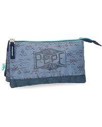 Pepe Jeans Pierce Beauty Case da viaggio, 22 cm, 1.32 liters, Blu (Azul)
