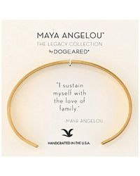 "Dogeared - Maya Angelou 2.0""i Sustain Myself. Thin Engraved Cuff Bracelet - Lyst"
