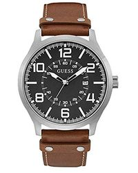 Guess Analog Quarz Uhr mit Leder Armband W1301G1 - Braun