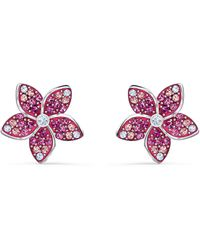 Swarovski - Tropical Stud Pierced Earrings With Floral Design And Gradient Pink Crystals On A Rhodium Plated Setting - Lyst