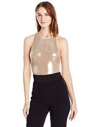 Halston - Anjelica Metallic Jersey Bodysuit - Lyst