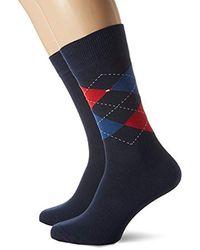 Tommy Hilfiger 2-Pack Argyle & Solid SOCKS, Red/Navy - Bleu