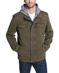 Levi's Washed Cotton Military Jacket With Removable Hood - Green