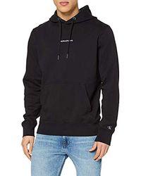Calvin Klein Instit Chest Logo Reg Hoodie Sweatshirt - Black