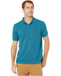 Nautica Short Sleeve Solid Deck Shirt Blue LG - Bleu