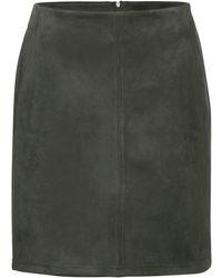 Street One Shape L52 Velours Skirt Moss Green - Grün