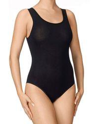 CALIDA Body in spalla larga in fine jersey di cotone elasticizzato - Nero