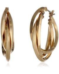 "Anne Klein - ""classics"" Gold-tone 3 Ring Hoop Earrings - Lyst"
