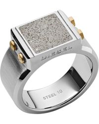 DIESEL Stainless Steel Signet Ring Dx1195040-8 - Metallic