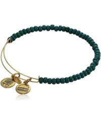 "ALEX AND ANI ""collegiate"" Green Color Beaded Expandable Rafaelian Gold-tone Wire Bangle Bracelet"
