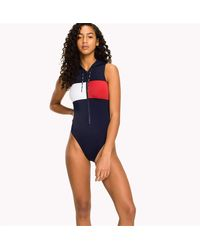 Tommy Hilfiger One-piece With Hood Swimsuit - Blue