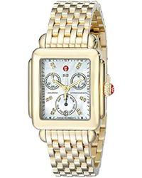 Michele Mww06p000016 Deco Analog Display Swiss Quartz Gold Watch - White