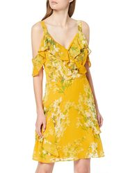Dorothy Perkins Floral Cold Shoulder Chiffon Fit And Flare Dress - Yellow
