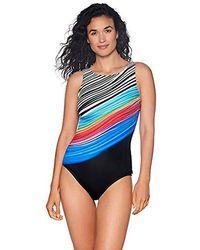 Reebok Lifestyle Swim Iconic Look High Neck One Piece Swimsuit Swimsuit - Black