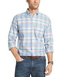 Izod - Oxford Plaid Long Sleeve Shirt - Lyst